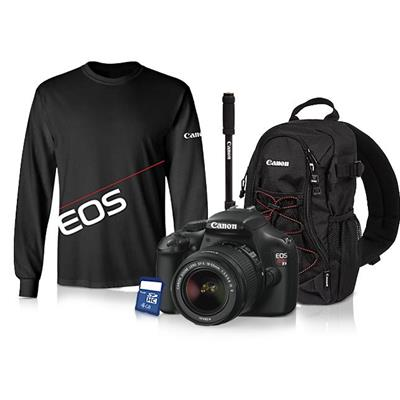 Canon EOS T3 with 18-55 IS + Anniversary Bundle (Monopod, Backpack, 4GB SDHC, EOS shirt) Camera